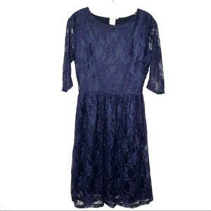 Shabby Apple Navy Blue Lace Midi Dress Fit Flare